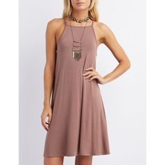 83c8e895a5d1 Charlotte Russe Bib Neck Trapeze Shift Dress ( 20) ❤ liked on Polyvore  featuring dresses