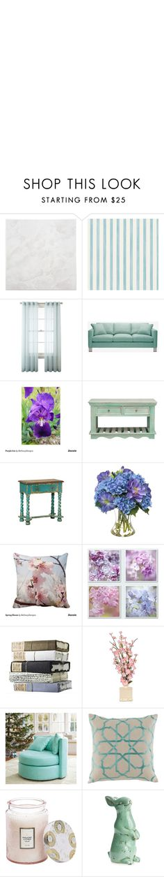 Spring Flowers Living Room by bethany-ransom on Polyvore featuring interior, interiors, interior design, home, home decor, interior decorating, PBteen, Royal Velvet, Christian Lacroix and Lacefield Designs, Bethany Designs at Zazzle
