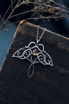 Citrine butterfly neckalce - wire wrapped silver jewelry - November birthstone - romantic gift for women - anniversary gift