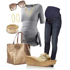 Casual Gray & Gold Maternity by miclynn1974 on Polyvore