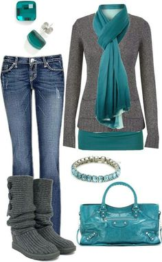 Aquamarine and grey outfit with jeans.  Needs a purse with a shoulder strap...but the colors are nice.