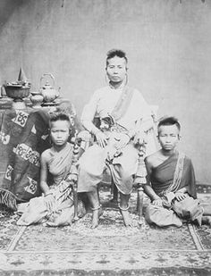 The Queen of Cambodia with her two daughters wearing traditional Khmer clothing. Photographed 1866 or 1878 by Gsell. (Photo: National Archives of Cambodia)