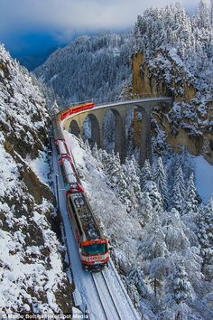 The red train also travelled across the Landwasser Viaduct in Filisur, Switzerland, as part of its journey