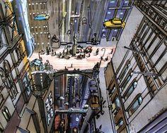 Jean-Claude MEZIERES - Affiche d'art sur papier épais et satiné : New York