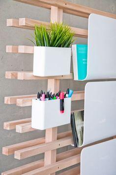 Work space divider with organization