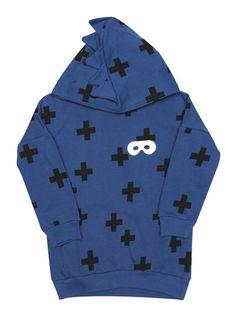 Beau Loves // Spiked Superhero Hoody Navy Blue Crosses