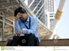 Asian businessman with hand on forehead sitting on staircase in the city. Depressed unemployment business concept Blogger Templates, Depressed, Economics, Hands, Concept, Asian, City, Business, Image