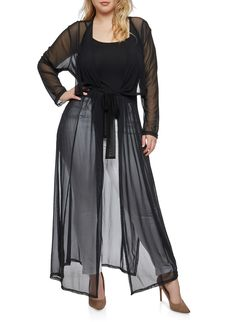 Plus Size Belted Mesh Duster,BLACK,large