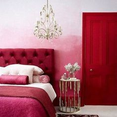 Pink and red interiors done right; gorgeous pink and red interiors combinations; pink and red interior design; Hot Pink Bedrooms, Pink Bedroom For Girls, Summer Bedroom, Romantic Bedrooms, Bright Rooms, Red Rooms, Red Bedroom Decor, Bedroom Ideas, Shabby Bedroom