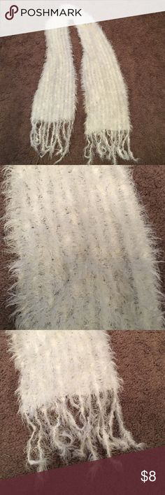 """White sparkly scarf Super cute, white sparky Scarf. Approximately 52"""" long with 4"""" tassels. Excellent condition. WSDM & Co Accessories Scarves & Wraps"""