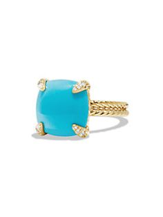 David Yurman - Châtelaine Ring with Turquoise and Diamonds in 18K Gold