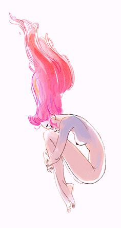Pink hair flowing. Position