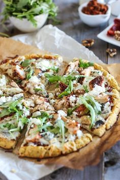 Pizza Food Recipe - Cauliflower Crust Grilled Chicken And 3 Cheeses Pizza