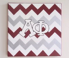 hand painted Alpha Phi letters outline with chevron background 12x12 canvas OFFICIAL LICENSED PRODUCT