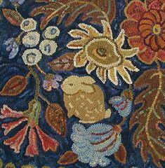 A Secret Garden in 2 sizes rug hooking pattern printed on bleached primitive linen//floral//bunnies//mother rabbit Rug Hooking Designs, Rug Hooking Patterns, Handmade Rugs, Handmade Crafts, Hand Hooked Rugs, Wool Fabric, Wool Rugs, Karen, Handmade Headbands