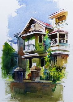Ideas For Painting Brush Illustration Water Colors Watercolor Paintings Nature, Watercolor Paintings For Beginners, Indian Art Paintings, Watercolor Sketch, Watercolor Architecture, Environmental Art, Ciel, Water Colors, Drawings