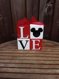 Mickey Mouse LOVE Wood Blocks by ChicCrusaderDesigns on Etsy