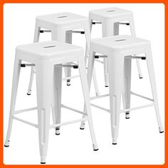 4 Pk. 24'' High Backless White Metal Indoor-Outdoor Counter Height Stool with Square Seat - Improve your home (*Amazon Partner-Link)