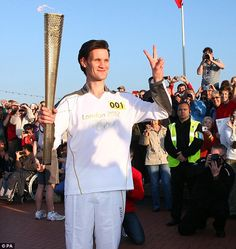 Matt Smith carrying the Olympic torch.....2012 London Olympics