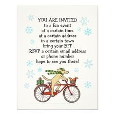 Cycling Dog and Squirrel Fun Holiday Party Personalized Invitations