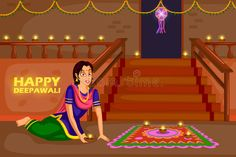 Illustration about Woman making rangoli for Diwali celebration festival of India. Illustration of illustration, holiday, diwali - 79152425 Diwali Cards, Festivals Of India, Diwali Celebration, Beautiful Rangoli Designs, Indian Art Paintings, Color Of Life, Gift Tags, Cartoon, Celebrities