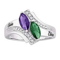 Couple's Marquise Simulated Birthstone and Diamond Accent Ring in Sterling Silver (2 Stones and Names)