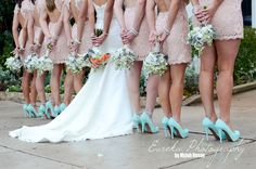 I like this backshot to possibly get the back of the brides dress. And I love the bouquet's! And these dresses