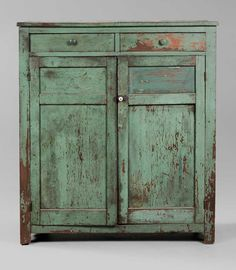 Southern Green-Painted Jelly Cupboard  probably North Carolina, 19th century, probably walnut throughout, original surface with green over earlier red paint, two finely dovetailed drawers over two double-panel doors with shelved interior, 48 x 42-3/8 x 16-5/8 in.,    in excellent as-found condition, one drawer with loose dovetails, surface wear and paint losses overall, one small door panel dry-scraped and with later paint