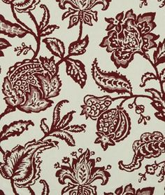 Robert Allen @ Home Jacobean Toss Poppy Fabric - $19.6 | onlinefabricstore.net