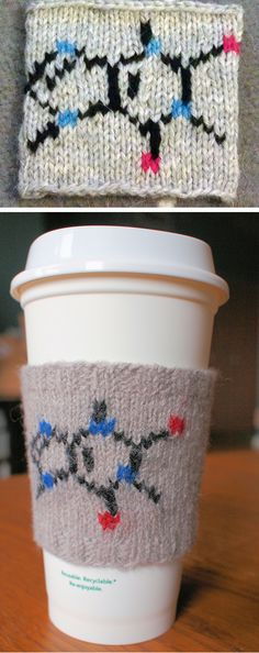 Free Knitting Pattern for Caffeine Molecule Coffee Cozy - This cozy has the caffeine molecule on the front, and a ribbed back so it can stretch to fit a variety of coffee cup sizes. Designed by ChemKnits. Pictured project by Knitist