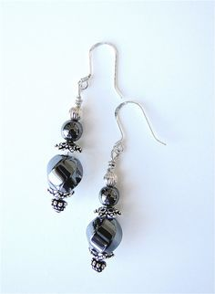 Hematite and Sterling Silver Dangle by GreenLeafStudiosEtsy