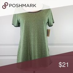 LuLaRoe Classic Tee Shirt Green with gray trim on neck and sleeves. Super soft. NWT. LuLaRoe Tops Tees - Short Sleeve