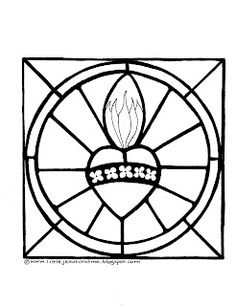 Little Jesus And Me Coloring Pages Immaculate Heart Of Mary Stained Glass Page