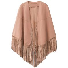 Choies Peach PU Poncho Coat With Tassels (€35) ❤ liked on Polyvore featuring outerwear, coats, jackets, pink, poncho coat, pink poncho, pink coat and beige coat