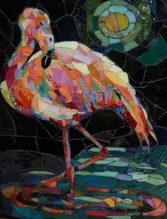 Moonlight Flamingo Glass Art
