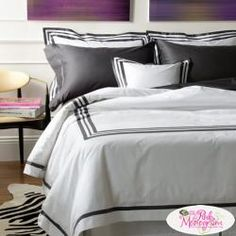 Three elegantly crafted rows of applique add a touch of exquisite boldness that perfectly contrasts the white percale, woven from the finest Egyptian cotton. Iron as Needed. Bedding Sets Online, Queen Bedding Sets, Luxury Bedding Sets, Comforter Sets, Cheap Bed Linen, Cheap Bed Sheets, Duvet Bedding, Linen Bedding, Bed Linens