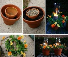 Candle Holder and Flower Pot In One: 26 Budget-Friendly and Fun Garden Projects Made with Clay Pots Garden Crafts, Garden Projects, Garden Ideas, Diy Projects, Garden Inspiration, Diy Crafts, Diy Flowers, Flower Pots, Potted Flowers