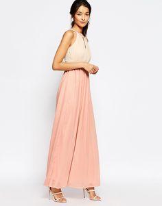 Image 1 ofClub L Chiffon Maxi Dress With Keyhole And Pleat Detail