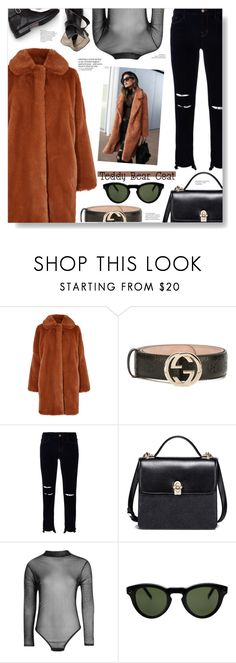 """""""Teddy Bear Coats ;)"""" by chocolate-addicted-angel ❤ liked on Polyvore featuring Gucci, J Brand, Boohoo, CÉLINE, trending, 2017 and teddybearcoats"""