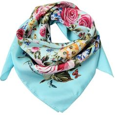 Dolce & Gabbana Women Floral Printed Silk Scarf (1.525 RON) ❤ liked on Polyvore featuring accessories, scarves, sky blue, silk shawl, pure silk scarves, floral print scarves, print scarves and floral scarves