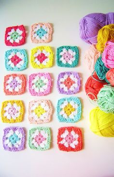 love these colourful granny squares from silly old suitcase