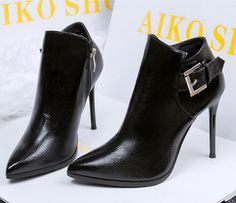 Heels boots patent leather shoes ankle boots buckle in three colors to size 8.5