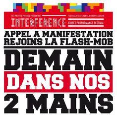 Dans le cadre du festival INTERFERENCE qui se tiendra à Dakar du 03 au 11 mai 2013… rejoignez une initiative participative et inédite : demain dans nos deux mains, rdv le 08 Mai!!!Débutde parcours#Rue Dardanelles(Niayes Thioker/Dakar Plateau),Avenue Blaise Diagne,Gueule Tapée,Corniche Ouest,Place des Artistes(Entrée Dakar Plateau)#Fin de parcours.