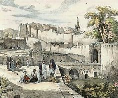 Algérie - Alger En 1832, Barb-Azoun : Gravure sur bois, dessinée par Marquette d´après un dessin ancien. 1886.. Aquarelle à la main.