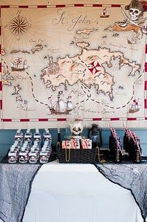 Drink station (map on wall is table cover from Pottery Barn) for Pirate Party