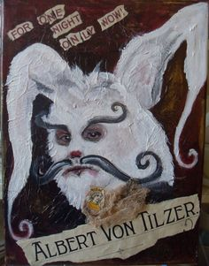 Items similar to Albert Von Tilzer-Original Painting (with added vintage mixed media)by Rainey J Dillon on Etsy White Rabbits, Moose Art, Original Paintings, Mixed Media, Fantasy, The Originals, Etsy, Animals, Vintage