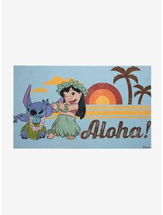 Disney Lilo & Stitch Aloha Doormat Disney Doormat, Disney Furniture, Real Life Fairies, Enchanted Castle, Classic Mickey Mouse, Queen Outfit, Sunset Background, Cute House, Disney Home