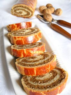 Beigli with nut - Recipes - Joyful Cooks Nut Recipes, Sweets Recipes, Just Desserts, Baking Recipes, Cookie Recipes, Delicious Desserts, Yummy Food, Romanian Desserts, Romanian Food