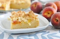 Wouldn't you like to have a nice piece of crumb cake in the morning with your coffee. At room temperature the taste of coconut and peaches are in season so they will be sweet and juicy. Enjoy!