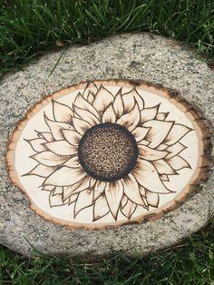 #Sunflower #pyrography #wood #boho #bohemian #decor #diy